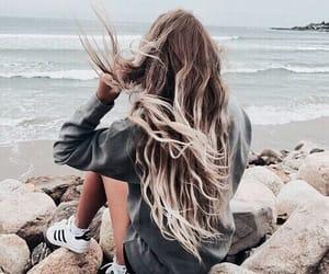 hair, beach, and adidas image