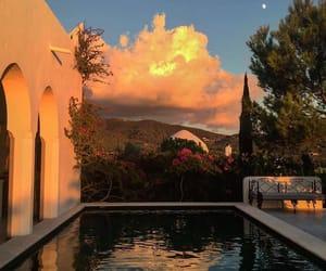 pool, sunset, and sky image