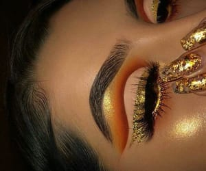 gold, lashes, and nails image