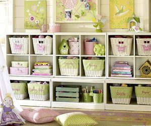 baskets, bedroom, and gingham image