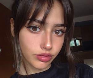 bangs, brunette, and girl image