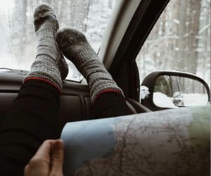 map, Road Trip, and snow image