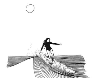 drawing, girl, and surfing image