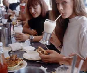 girl, Milla Jovovich, and milkshake image