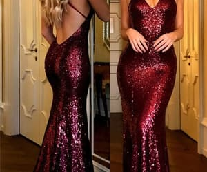 prom dress, burgundy prom dress, and sequin prom dress image