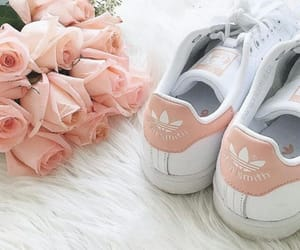 adidas, pink, and flowers image