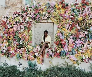 old, flowers, and wall image