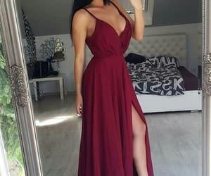 maxi dress, prom dress, and burgundy dress image