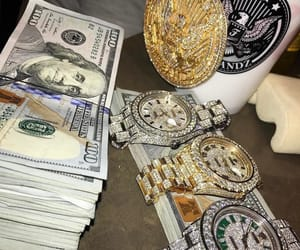 money, diamonds, and rolex image