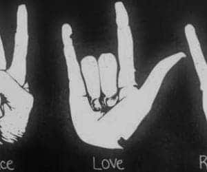 love, rock, and peace image