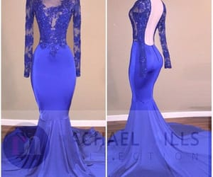 prom dress, long sleeves prom dress, and royal blue prom dress image