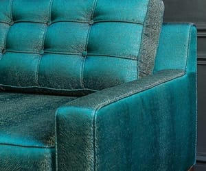 sofa, teal, and blue image