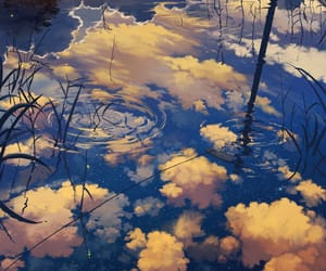 water, anime, and clouds image