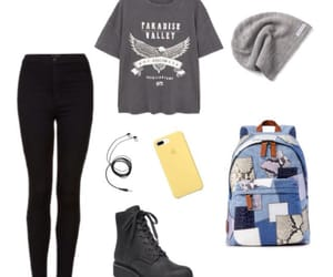backpack, clothes, and earphones image