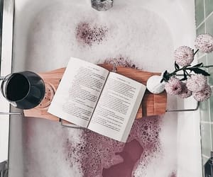 book, bath, and flowers image