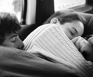 couple, hug, and sleep image