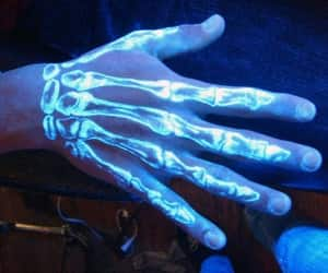 hand, neon, and tattoo image