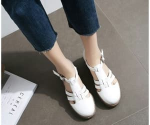 white shoes, fashion, and sandale image