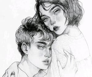 couple, sketch, and love image