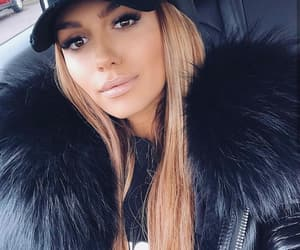 fur, cap, and outfit image