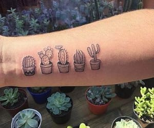 tattoo, plants, and cactus image