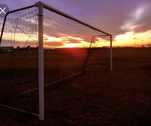 goal, sunset, and soccer image