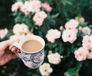 coffee, flowers, and vintage image