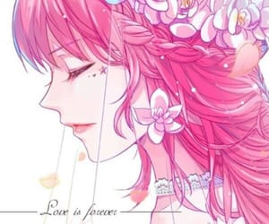 anime girl, flower crown, and flowers image