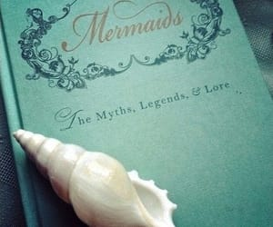 mermaid, book, and blue image