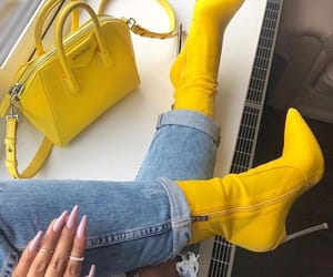 yellow, boots, and fashion image