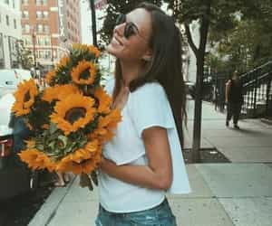 flower, girl, and fun image