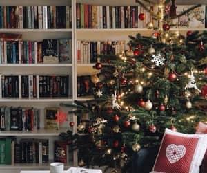 christmas, garland, and books image