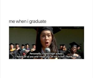 funny, girl, and graduation image