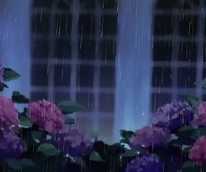 gif, purple, and rain image