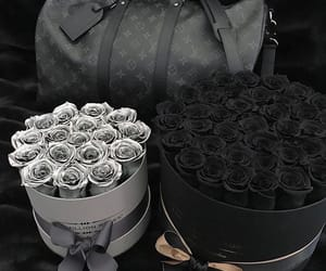 flowers, black, and bag image