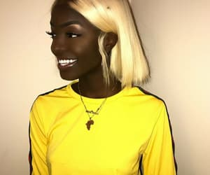 girl, pretty, and yellow image