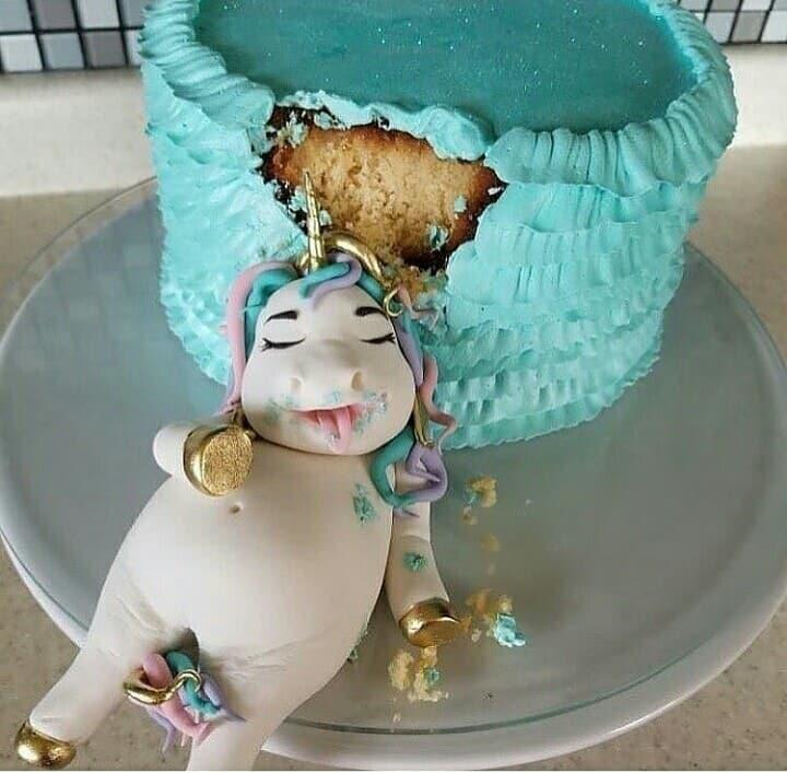 Swell Happy Birthday Hahaha Unicorn Funny Cake Love It Blue Funny Birthday Cards Online Inifodamsfinfo