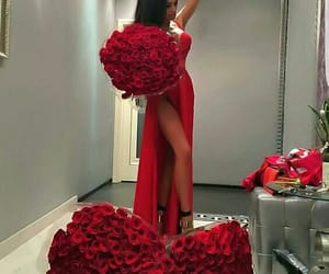 red, dress, and flowers image