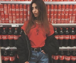 red, coca cola, and girl image
