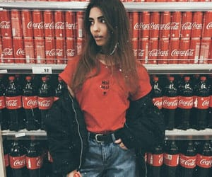 girl, red, and coca cola image
