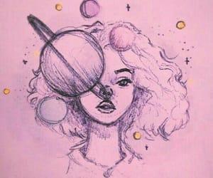 art, girl, and planet image