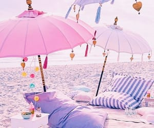 beach, pink, and background image