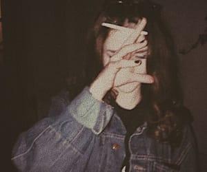 grunge, girl, and smoke image