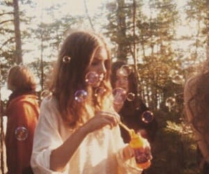 girl, bubbles, and vintage image