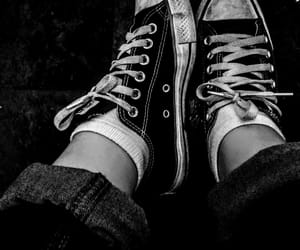all-star, black & white, and shoes image