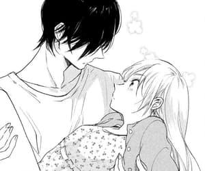 black and white, couple, and manga cap image