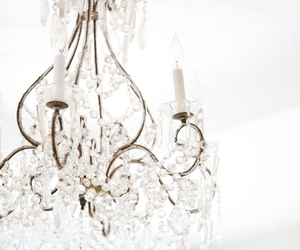 white, chandelier, and light image