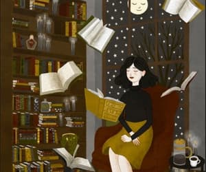 girl, book, and book shelves image