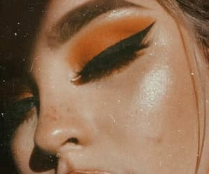 makeup, orange, and eyeliner image