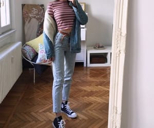 converse, striped shirt, and aesthetic outfit image